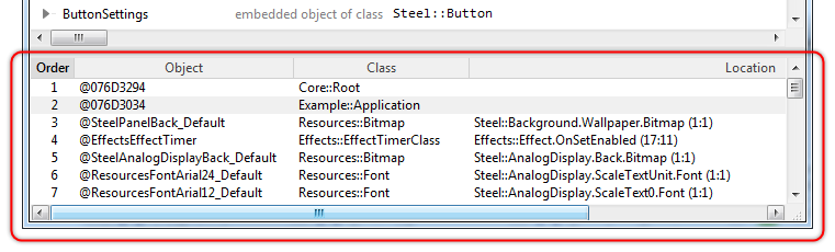 Embedded Wizard Studio: Chora Objects window